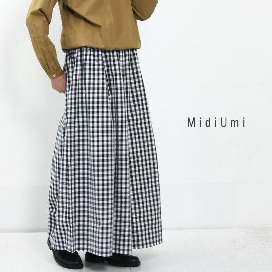 MidiUmi (ミディウミ) チェックワイドパンツ