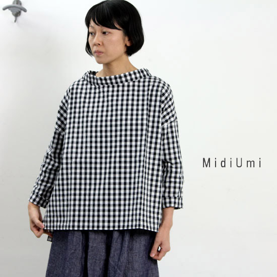 MidiUmi (ミディウミ) チェックワイドプルオーバー